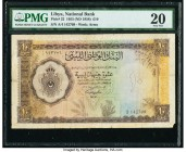 Libya National Bank of Libya 10 Pounds 1955 (ND 1958) Pick 22 PMG Very Fine 20. Corner tip missing, annotation.  HID09801242017