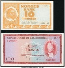 Luxembourg Grand-Duche de Luxembourg 100 Francs 1963 Pick 52a Choice Crisp Uncirculated; Norway Norges Bank 10 Kroner 1967 Pick 31d Choice Crisp Uncir...