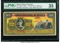 "Mexico Banco Nacional de Mexico 1000 Pesos ND (1885-1913) Pick S263r s M305r Remainder PMG Choice Very Fine 35. ""Billete Sin Valor"" overprint variety...."