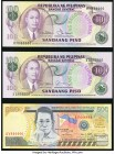 Philippines Philippine National Bank 100 Piso 1949 (ND 1978) Pick 164b with Solid Serial Number 444444; Pick 164c with Solid Serial Number 666666; 500...