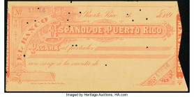 Puerto Rico Spanol de Puerto Rico Check from Late 1800s About Uncirculated. Punch cancels.  HID09801242017