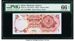 Qatar Qatar Monetary Agency 1 Riyal ND (1973) Pick 1a PMG Gem Uncirculated 66 EPQ.   HID09801242017