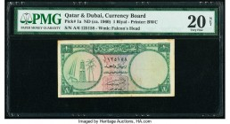 Qatar & Dubai Currency Board 1 Riyal ND (ca. 1960) Pick 1a PMG Very Fine 20 NET. Large tear, tape residue.  HID09801242017