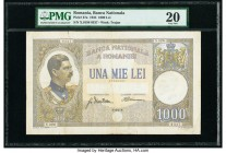 Romania Banca Nationala a Romaniei 1000 Lei 15.3.1934 Pick 37a PMG Very Fine 20. Tears.  HID09801242017