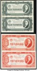 Russia State Currency Notes 1; 1; 3; 3; 5; 5; 10 Chervonetz 1937 Pick 202 (2); 203 (2); 204 (2); 205 Very Fine or Better.   HID09801242017