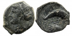 Sicily, Dionysius I (405-367), Hemilitron, Syracuse, c. 405 BC, AE Obv: Head of Arethusa left/ Aphrodite wearing sphendone; branch to right.  Rev: ΣVΡ...
