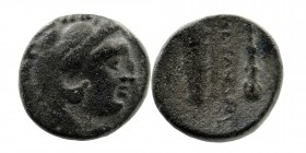 Kings of Macedon. Alexander III 'the Great' (336-323). Ae. Obv: Head of Herakles right, wearing lion's skin. Rev: Club and bow in bowcase. 5,56 gr. 16...