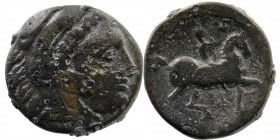 KINGS OF MACEDON. Kassander (317-305 BC). Ae. Uncertain mint. Obv: Head of Herakles right, wearing lion skin. Rider on horseback right. SNG Alpha Bank...