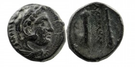 KINGS OF MACEDON. Alexander III 'the Great' (336-323). Ae. Head of Herakles in lion's skin to right. Rev: Bow in bow-case and club Price 2102. 5,58 gr...