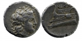 BITHYNIA, Kios. Circa 345-315 BC. AR Hemidrachm Persic standard. Nikas, magistrate. Laureate head of Apollo right. Rev: Prow of galley left; NIKA[Σ] a...