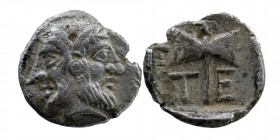 Troas, Tenedos AR Obol. Circa 5th Century BC. Janiform head, female on left, male on right  Rev: Labrys (double axe) within incuse square.  SNG Münche...