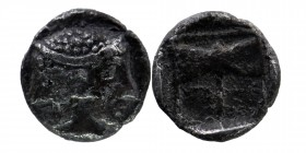 Troas, Tenedos. ca. 500-450 B.C. AR obol.  Janiform female and male heads / Labrys (double axe) within linear border within incuse square.  SNG Copenh...
