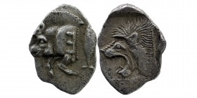 Mysia. Kyzikos AR Obol. 450-400 BC. Forepart of boar left, tunny behind./Head of lion left. SNG France 369-70; SNG Aulock 7331. 0,78 gr. 10 mm