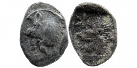 Mysia. Kyzikos AR Obol. 450-400 BC. Forepart of boar left, tunny behind./Head of lion left. SNG France 369-70; SNG Aulock 7331. 0,81 gr. 12 mm