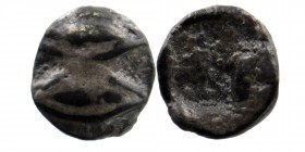 Lesbos, uncertain mint AR Tetartemorion. Circa 450 BC. Obv: Two eyes (or grains?) Rev: Irregular incuse square punch. SNG München 651-3; cf. SNG von A...
