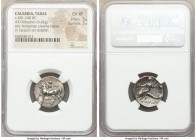 CALABRIA. Tarentum. Ca. 281-240 BC. AR didrachm (20mm, 6.42 gm, 12h). NGC Choice XF 5/5 - 3/5. Philotas and Di-, magistrates. Youth on horseback left,...