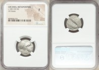 LUCANIA. Metapontum. Ca. 340-330 BC. AR stater (19mm, 5h). NGC Fine. Ap- and Ami-, magistrates. Head of Leucippus right, wearing Corinthian helmet pus...