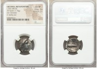 LUCANIA. Metapontum. Ca. 330-280 BC. AR stater (20mm, 7.70 gm, 3h). NGC Choice VF 4/5 - 3/5. Head of Demeter right, crowned with grain; ΔAI before, • ...