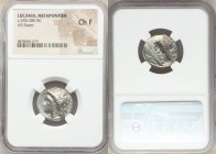 LUCANIA. Metapontum. Ca. 330-280 BC. AR stater (20mm, 5h). NGC Choice Fine. Dori-, magistrate. Head of Demeter left, wreathed with grain; ΔΩPI below c...