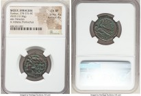 SICILY. Syracuse. Pyrrhus of Epirus (278-276 BC). AE litra (23mm, 12.36 gm, 4h). NGC Choice XF 4/5 - 4/5. Head of young Heracles left, wearing lion-sk...