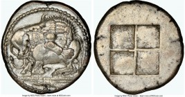 MACEDON. Acanthus. Ca. 470-430 BC. AR tetradrachm (26mm, 17.16 gm). NGC Choice XF 5/5 - 4/5. Lion springing right, attacking bull kneeling left with r...