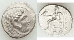 MACEDONIAN KINGDOM. Alexander III the Great (336-323 BC). AR tetradrachm (26mm, 16.11 gm, 1h). AU, porosity. Posthumous issue of Ake or Tyre, dated Re...