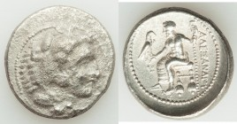 MACEDONIAN KINGDOM. Alexander III the Great (336-323 BC). AR tetradrachm (28mm, 16.06 gm, 7h). VF, porosity. Lifetime issue of Ake or Tyre, dated Regn...