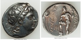 MACEDONIAN KINGDOM. Demetrius I Poliorcetes (306-283 BC). AR tetradrachm (28mm, 16.65 gm, 2h). VF, holed, scratches. Ca. 291-287 BC. Diademed head of ...