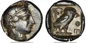 ATTICA. Athens. Ca. 455-440 BC. AR tetradrachm (25mm, 17.21 gm, 10h). NGC Choice AU 5/5 - 4/5. Early transitional issue. Head of Athena right, wearing...