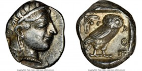 ATTICA. Athens. Ca. 455-440 BC. AR tetradrachm (25mm, 17.20 gm, 1h). NGC Choice XF 4/5 - 4/5. Early transitional issue. Head of Athena right, wearing ...