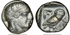 ATTICA. Athens. Ca. 455-440 BC. AR tetradrachm (23mm, 17.14 gm, 10h). NGC XF 4/5 - 2/5, test cut. Early transitional issue. Head of Athena right, wear...
