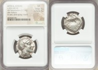 ATTICA. Athens. Ca. 455-440 BC. AR tetradrachm (25mm, 17.14 gm, 7h). NGC VF 5/5 - 5/5. Early transitional issue. Head of Athena right, wearing crested...