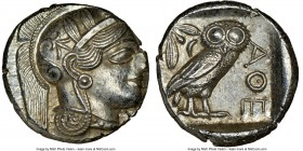 ATTICA. Athens. Ca. 440-404 BC. AR tetradrachm (25mm, 17.25 gm, 3h). NGC MS 4/5 - 4/5. Mid-mass coinage issue. Head of Athena right, wearing crested A...