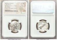ATTICA. Athens. Ca. 440-404 BC. AR tetradrachm (25mm, 17.21 gm, 1h). NGC Choice AU 4/5 - 4/5. Mid-mass coinage issue. Head of Athena right, wearing cr...