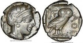 ATTICA. Athens. Ca. 440-404 BC. AR tetradrachm (24mm, 17.21 gm, 10h). NGC AU 5/5 - 4/5. Mid-mass coinage issue. Head of Athena right, wearing crested ...
