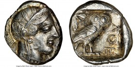ATTICA. Athens. Ca. 440-404 BC. AR tetradrachm (26mm, 17.19 gm, 8h). NGC AU 5/5 - 3/5. Mid-mass coinage issue. Head of Athena right, wearing crested A...