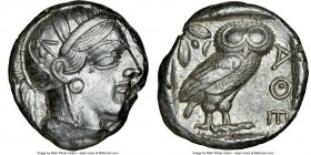ATTICA. Athens. Ca. 440-404 BC. AR tetradrachm (24mm, 17.20 gm, 10h). NGC AU 4/5 - 4/5. Mid-mass coinage issue. Head of Athena right, wearing crested ...