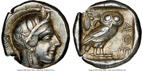 ATTICA. Athens. Ca. 440-404 BC. AR tetradrachm (24mm, 17.07 gm, 6h). NGC Choice XF 5/5 - 4/5. Mid-mass coinage issue. Head of Athena right, wearing cr...