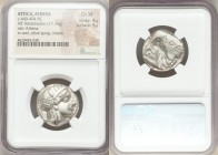 ATTICA. Athens. Ca. 440-404 BC. AR tetradrachm (23mm, 17.16 gm, 5h). NGC Choice XF 4/5 - 5/5. Mid-mass coinage issue. Head of Athena right, wearing cr...