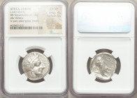 ATTICA. Athens. Ca. 440-404 BC. AR tetradrachm (25mm, 17.16 gm, 10h). NGC Choice XF 4/5 - 5/5. Mid-mass coinage issue. Head of Athena right, wearing c...