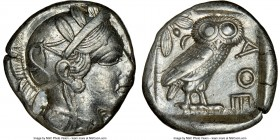 ATTICA. Athens. Ca. 440-404 BC. AR tetradrachm (25mm, 17.18 gm, 10h). NGC Choice XF 3/5 - 4/5. Mid-mass coinage issue. Head of Athena right, wearing c...