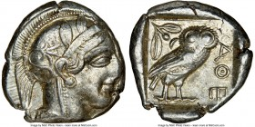 ATTICA. Athens. Ca. 440-404 BC. AR tetradrachm (25mm, 17.16 gm, 9h). NGC XF 4/5 - 4/5. Mid-mass coinage issue. Head of Athena right, wearing crested A...