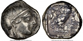 ATTICA. Athens. Ca. 440-404 BC. AR tetradrachm (23mm, 17.06 gm, 5h). NGC XF 5/5 - 2/5. Mid-mass coinage issue. Head of Athena right, wearing crested A...