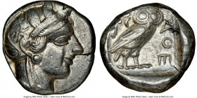 ATTICA. Athens. Ca. 440-404 BC. AR tetradrachm (23mm, 17.15 gm, 5h). NGC Choice VF 4/5 - 4/5. Mid-mass coinage issue. Head of Athena right, wearing cr...