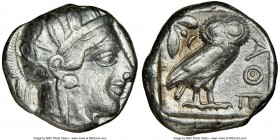 ATTICA. Athens. Ca. 440-404 BC. AR tetradrachm (24mm, 17.17 gm, 7h). NGC VF 4/5 - 4/5. Mid-mass coinage issue. Head of Athena right, wearing crested A...