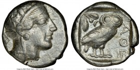 ATTICA. Athens. Ca. 440-404 BC. AR tetradrachm (23mm, 17.13 gm, 3h). NGC VF 4/5 - 4/5. Mid-mass coinage issue. Head of Athena right, wearing crested A...