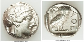 ATTICA. Athens. Ca. 440-404 BC. AR tetradrachm (24mm, 17.17 gm, 9h). XF. Mid-mass coinage issue. Head of Athena right, wearing crested Attic helmet or...