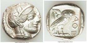 ATTICA. Athens. Ca. 440-404 BC. AR tetradrachm (25mm, 17.20 gm, 6h). XF. Mid-mass coinage issue. Head of Athena right, wearing crested Attic helmet or...