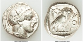 ATTICA. Athens. Ca. 440-404 BC. AR tetradrachm (25mm, 17.19 gm, 2h). VF. Mid-mass coinage issue. Head of Athena right, wearing crested Attic helmet or...