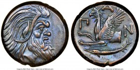 CIMMERIAN BOSPORUS. Panticapaeum. 4th century BC. AE (21mm, 12h). NGC Choice XF S. Head of bearded Pan right / Π-A-N, forepart of griffin left, sturge...